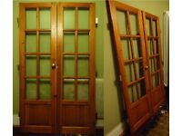 Varnished Pine French Doors