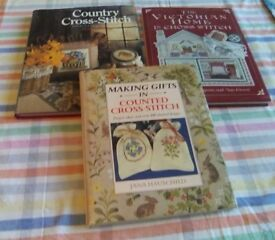 Three different cross stitch books. Victorian, Making gifts, Country and Cross stitch.