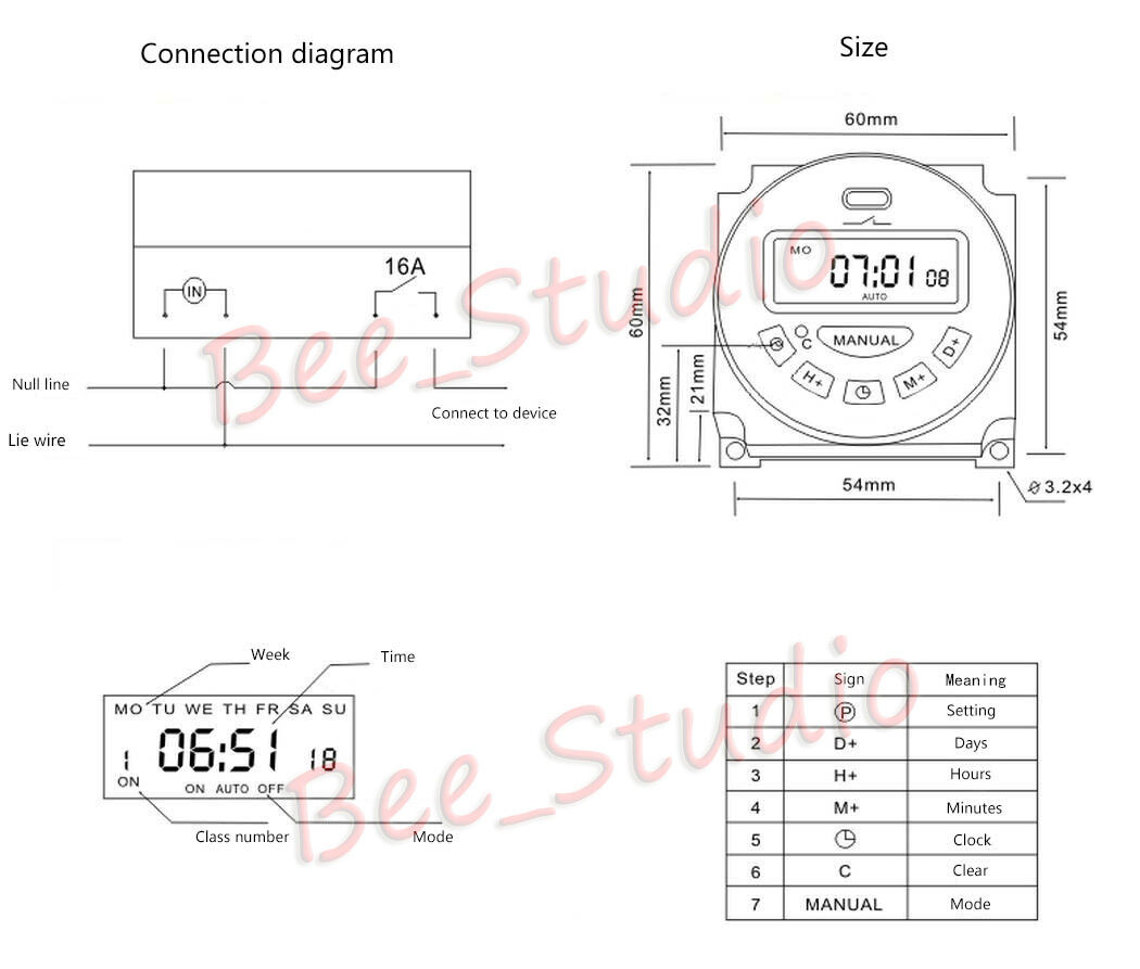 DC 12V 24V AC110V 220V 230V LCD Programmable Cycle Clock