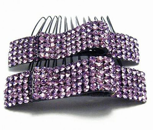2PC RIBBON ORCH AUSTRIAN RHINESTONE CRYSTAL HAIR COMBS COMB BARRETTE CLIP C1154P
