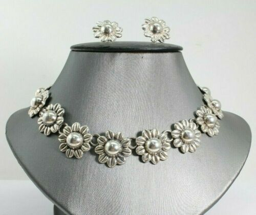 """Sterling Silver Sunflower 16"""" Necklace and Earrings Set 99.2 Grams Free Shipping"""