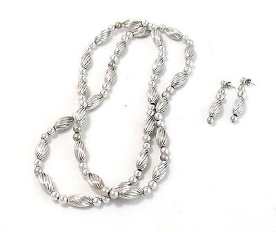 Vintage Set Carolyn Pollack Sterling Silver Beaded Necklace and Earrings