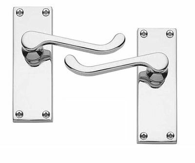 7 x Victorian Scroll Door Handles Lever on Backplate Polished Chrome