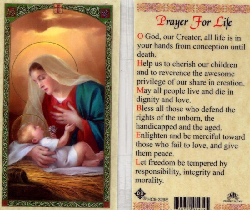 Prayer for Life Catholic Holy Card New Laminated From Cromo Italy JimsStoreUSA