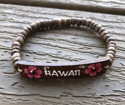 Coconut Aloha Hawaii Bracelets With Hand Painted Flowers Stretch Wood Beads - $2.99