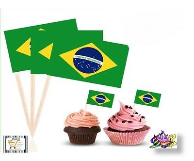 BRAZILIAN Flag Cupcake Decor Adult Party Favor Supply Birthday Topper