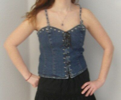 New Ladies Denim lace-up halter top Size 2X  Vintage Style Sexy or (2x Sexy Top Halter)