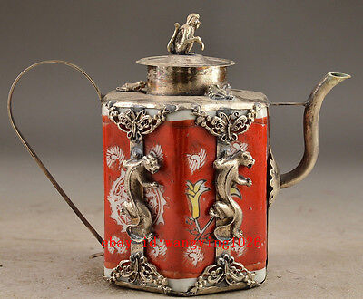 Copper Porcelain Chinese Collectable Handwork Old Carving Leopard Tea Pot