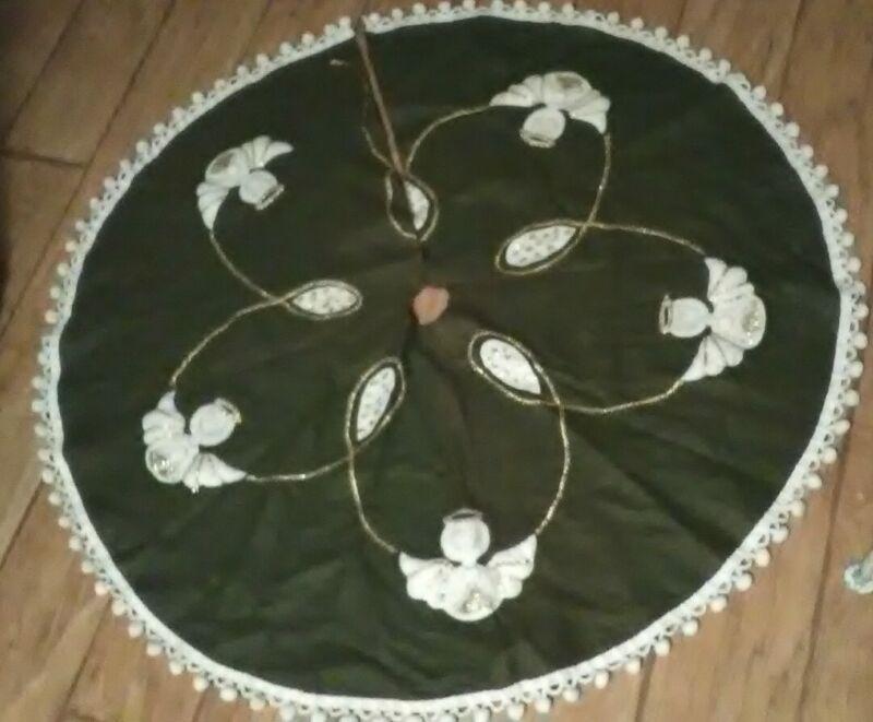 Vtg Christmas Tree Skirt Angel Pom Pom Edge Green Felt  Read Description