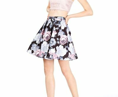 ($150 SEQUIN HEARTS JUNIOR'S BLACK WHITE FLORAL PLEATED FIT & FLARE SKIRT SIZE 7)