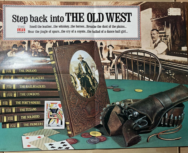 Time-Life Books - The Old West Fold-Out Adevertisement Rare Large advert 34x22
