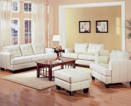 New 4pc Set Cream Bonded Leather Tufted Back Sofa Loveseat Chair Ottoman Coaster