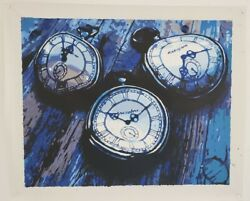 Blue clocks watch home decor wall Oil Painting