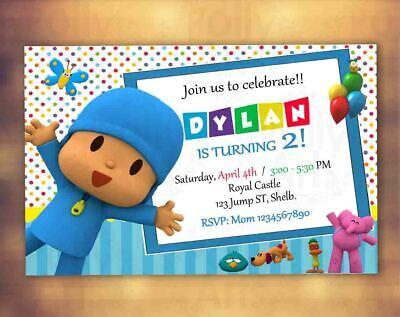 Pocoyo Digital Birthday Invitation Card Invite Printable for sale  Los Angeles
