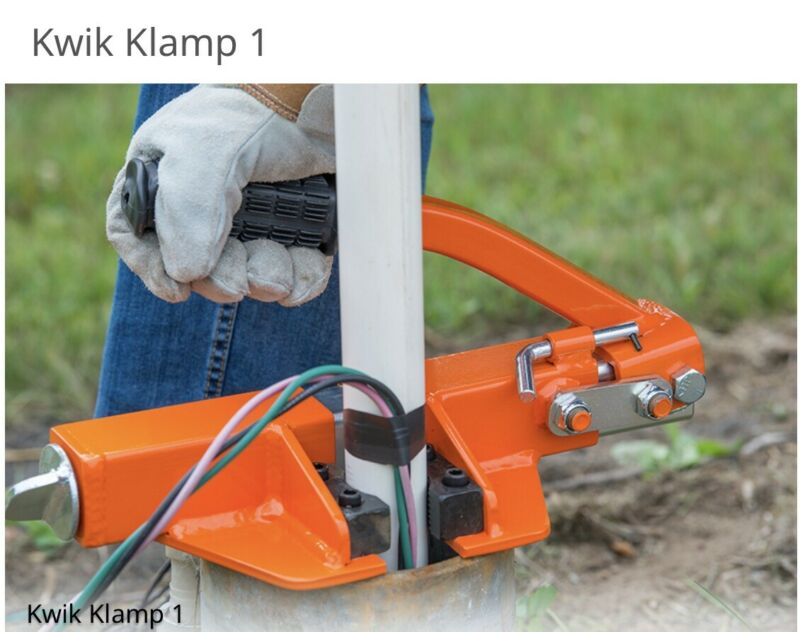 """Kwik Klamp 1 Holds 1"""" -2""""  PVC, stainless steel & galvanized pipes.  Well pipe."""