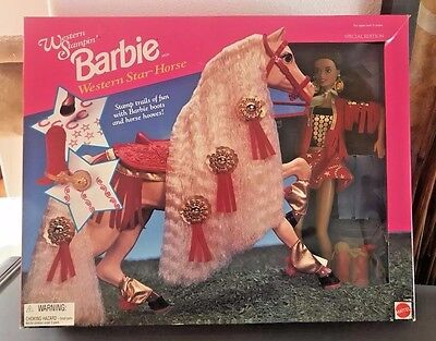 1995 Western Stampin' Barbie w/ Horse ~ AA ~ Special Edition #13478 Rare Set
