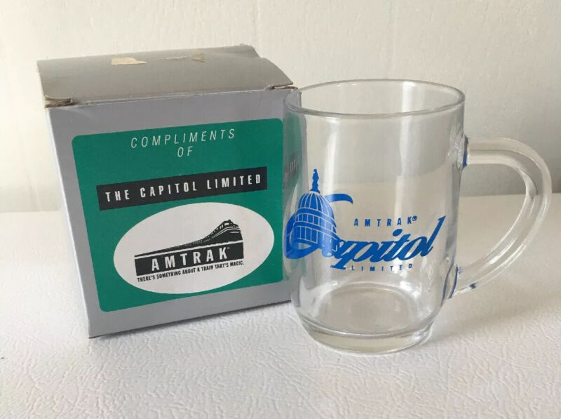 Rare Vintage Amtrak Capitol Limited Glass Mug with Royal Blue Etching With Box