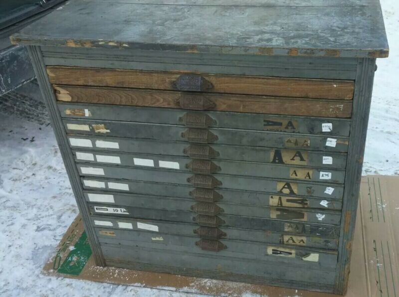 HAMILTON Printers Cabinet Type Case 12 Drawer Solid Wood Vintage Antique