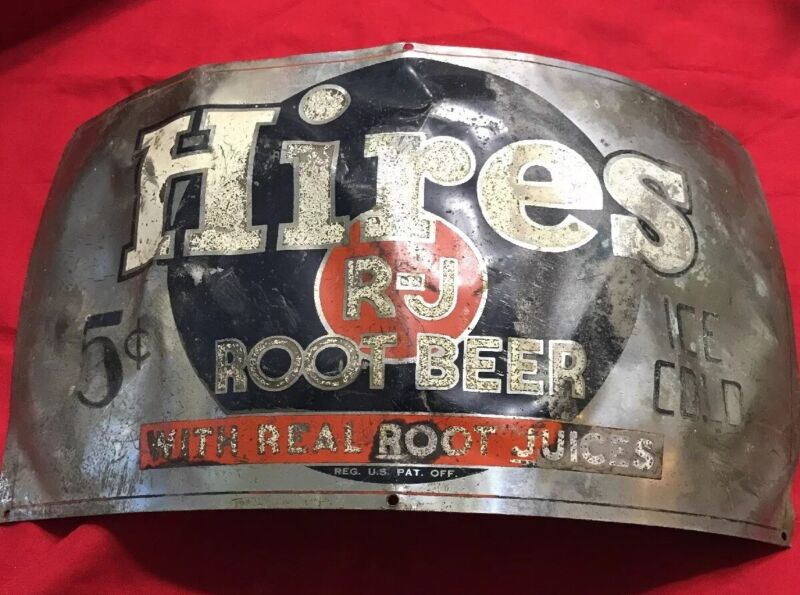**** Rare Vintage Hires R-J Real Juices Root Beer Barrel Metal Sign 5 cents