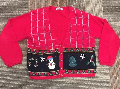 Dress Barn Christmas Sweater Women's Size Large Cardigan Snowman #197 ()