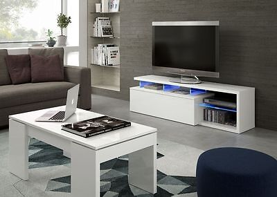 Zenia Living Room Furniture Range LED TV Media Unit Sideboard Coffee Table White