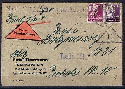 SBZ Nachnahme Brief portogerecht Leipziger Ortsdrucksache mit Akst