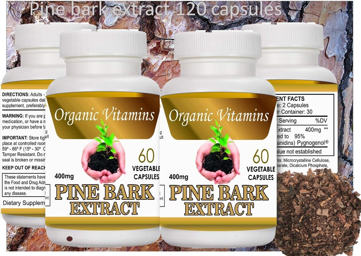 2 BOTTLES PINE BARK EXTRACT 120 caps 400MG x serving  2 BOTTLE 100% NATURAL