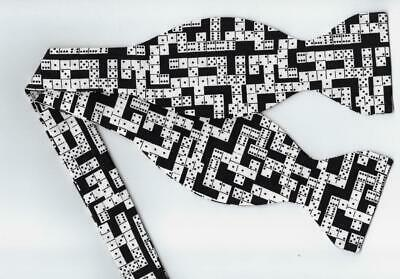 Dominoes Bow Tie / Black & White / Classic Dominoes Game / Self-tie Bow