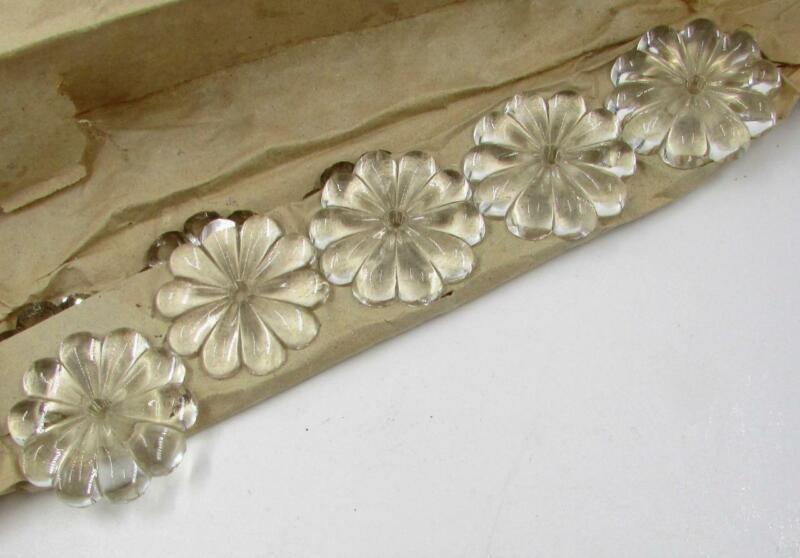 """Lot of 10 Antique Crystal Rosette Prisms Chandelier Repair Refurbish 1 3/8"""" Diam"""