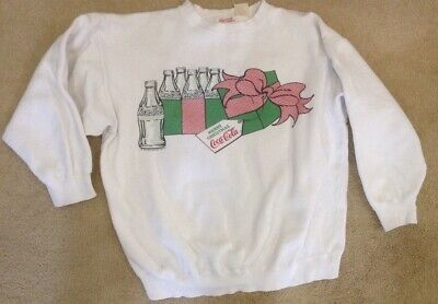 Vintage Coca-Cola Merry Christmas 6 Pack Bottles Sweatshirt Size L 1985
