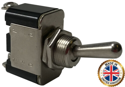 (2) Heavy Duty Momentary On - Off Metal Toggle Switch 25 Amps 12 Volt - UK Made