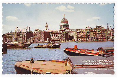 St Pauls Cathedral River Thames1959  Postcard London England UK Boats
