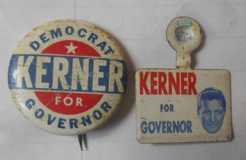 Otto Kerner for Illinois Governor - 2 pins - 1960