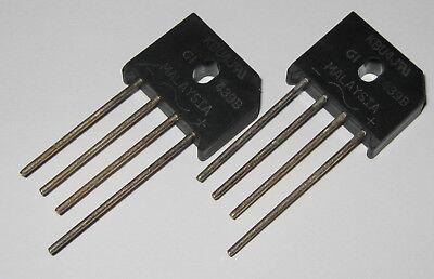 2 X 4 Amp 600 Volt Low Profile Bridge Rectifier - 600v 4a Inline Compact Diodes