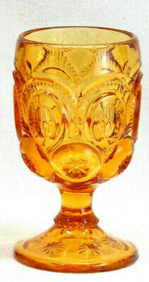 Antique Vintage Mid Century Modern Glass Goblet Amber Moon Stars Wedding Gift