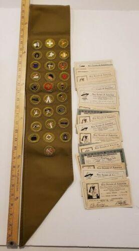 BOY SCOUTS LATE 1930s sash 28 merit badges Type C Narrow Border (BSA4)