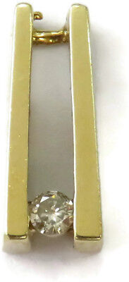 14k Yellow Gold Diamond Bar Style Solitaire Charm Necklace Pendant ~ 1.2g