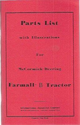 International Farmall B Tractor Parts List Manual