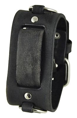Nemesis FRB Faded Black Ring Leather Watch Cuff Band Vintage Punk Rock 20mm