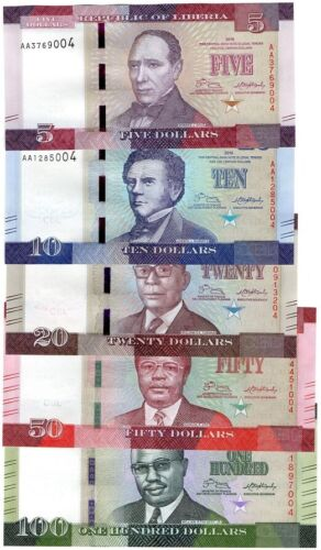 Liberia - set 5 banknotes 5 10 20 50 100 Dollars 2016 UNC Lemberg-Zp