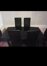 Lovely black glass table & 6 chairs