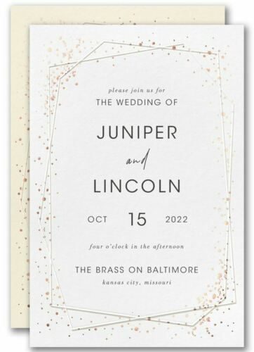 Personalized Wedding Invitations Embossed Geometric Thermography Raised Ink