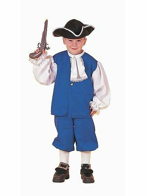 Colonial Boy Costume Blue & White  Knickers Shirt & Hat Book Report Costume Lg - Boys Colonial Shirt