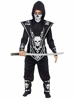 New! SKULL LORD NINJA FIGHTER Costume Silver Child Halloween Party Boys Size S  - Black Ninja Boy Fighter Child Halloween Costume