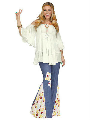 White Flowy Gauze 60s Groovy Hippie Women's Costume Shirt Off the Shoulder - Hippie Groovy