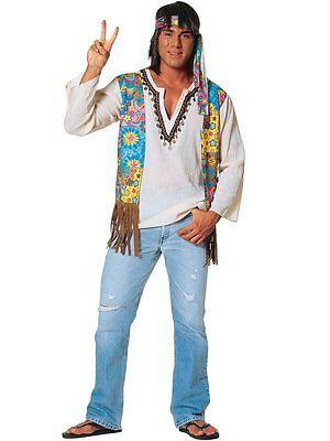 1960S 60'S 70S ADULT MENS MALE PEACE RETRO HIPPIE DUDE COSTUME SHIRT VEST (60's Male Hippie Costume)