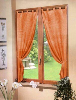 Par Cortinas Naranja Satén 60X150 - Ventana Salón Cocina Habitación de Baño