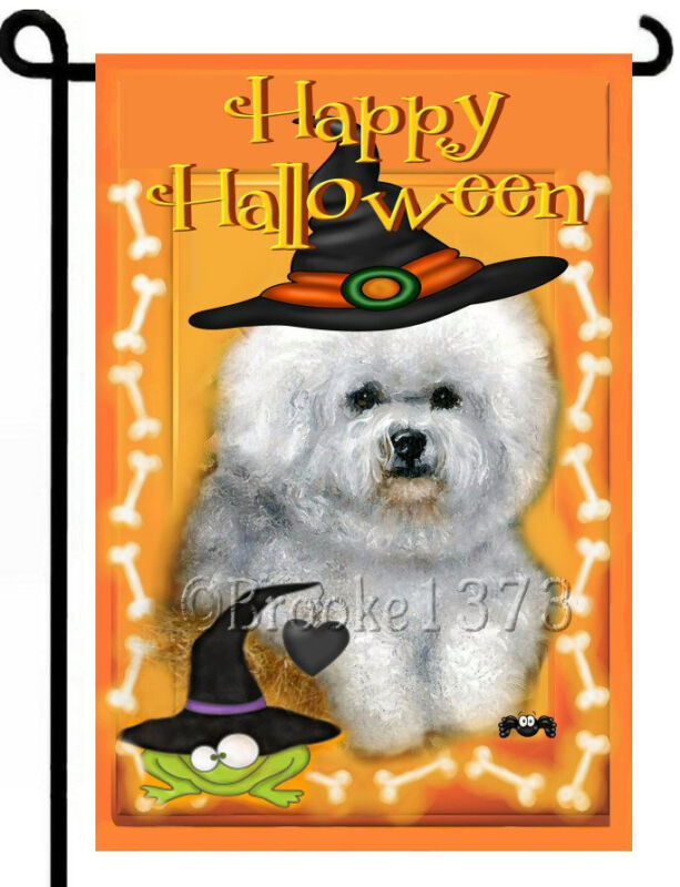 Bichon Frise HALLOWEEN fall painting GARDEN FLAG Dog PUPPY ART AUTUMN landscape