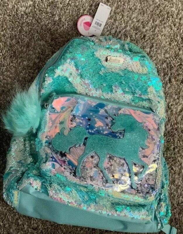 Justice Girls Unicorn Flip Sequin Shaky Backpack