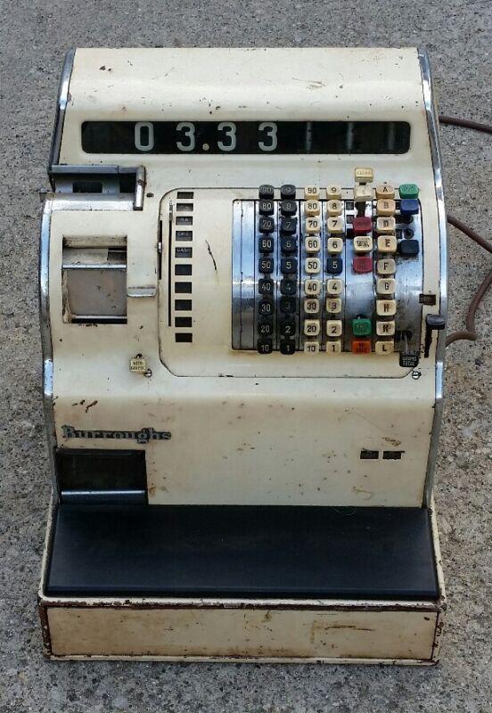 VINTAGE Antique Burroughs Cash Register machine w KEY & DRAWER very heavy solid!